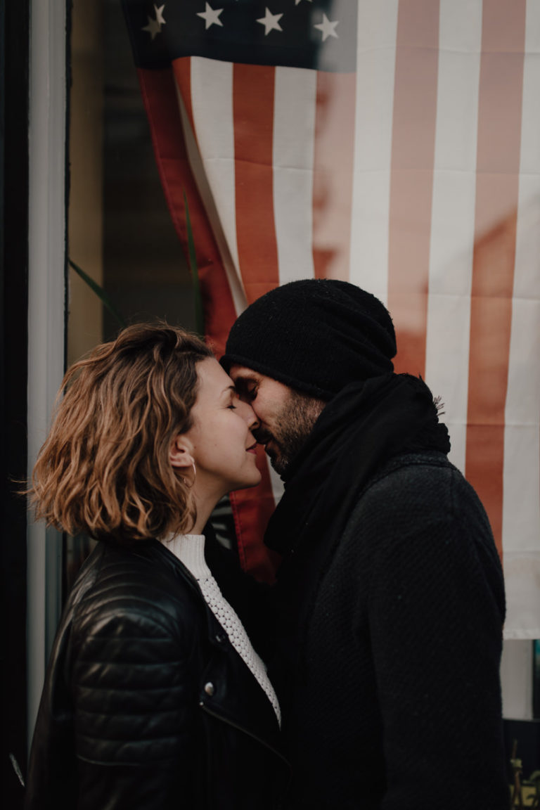 Engagement session in the streets of Hoboken, New Jersey